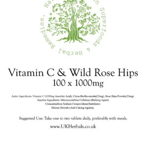 Vitamin C Tablet Product Label