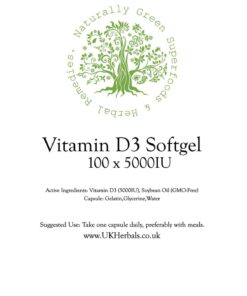 Vitamin D3 Softgel Product Label